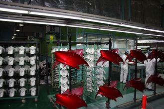 China Powder Coating Booths Motorcycle production Assembly Line Liquid Painting System supplier
